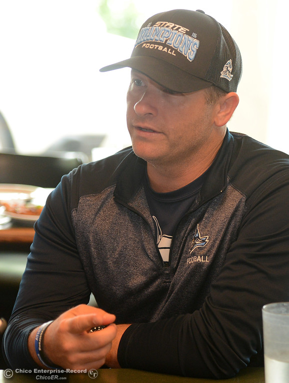 . Pleasant Valley coach Mark Cooley was selected to head the 11-man South team. He speaks to the Enterprise-Record as players and coaches meet Thursday, June 8, 2017, for the Lions All-Star football game kickoff luncheon at Round Table Pizza on Pillsbury Road in Chico, California. (Dan Reidel -- Enterprise-Record)