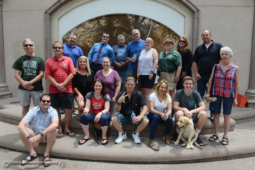 . Teri Dubose, owner of Broadway Pawn invites local residents to eat lunch with her every Wednesday in City Plaza to help encourage acceptable public use of the park. The group poses for a picture Wednesday, June 7, 2017, in Chico, California. (Dan Reidel -- Enterprise-Record)