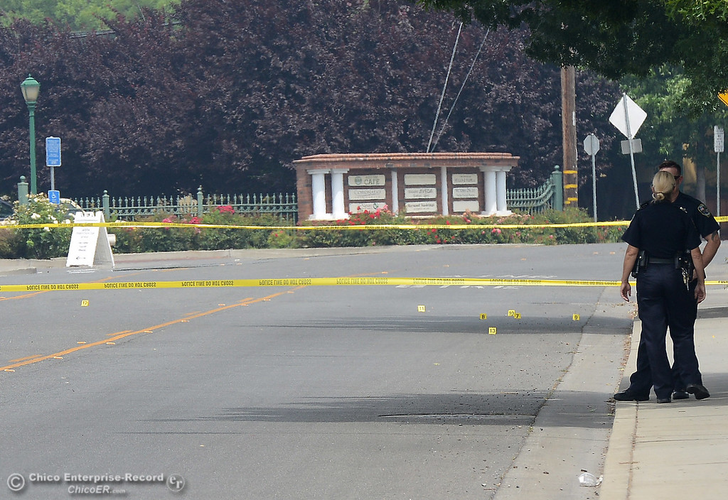 . Yellow evidence markers are seen on Cohasset Road as police investigate a shooting Wednesday, June 7, 2017, that began at Cohasset and the Esplanade and involved chases in several directions in Chico, California. (Dan Reidel -- Enterprise-Record)
