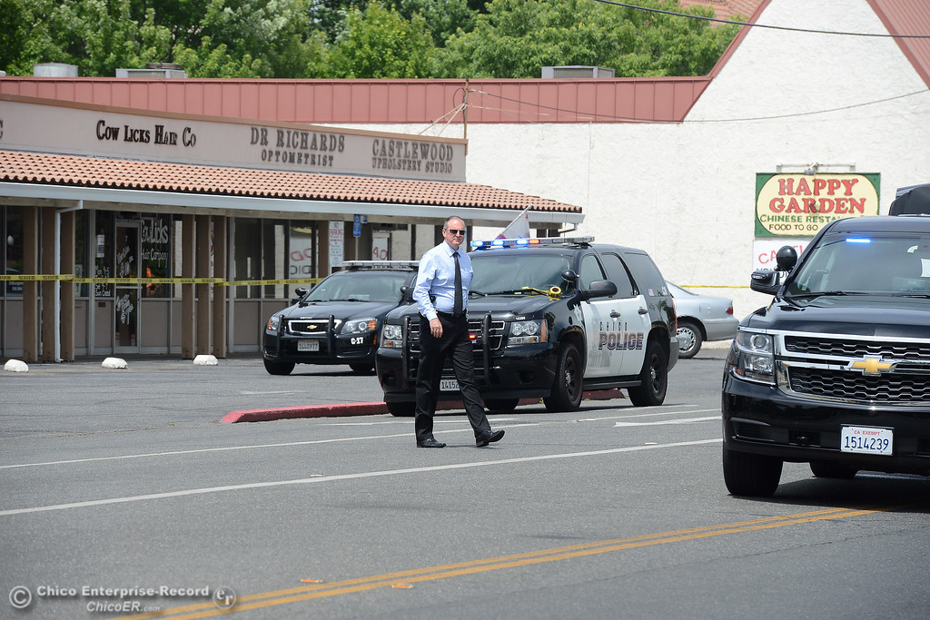 . Chico Police Department Chief Mike O\'Brien as police investigate a shooting Wednesday, June 7, 2017, that began at Cohasset and the Esplanade and involved chases in several directions in Chico, California. (Dan Reidel -- Enterprise-Record)