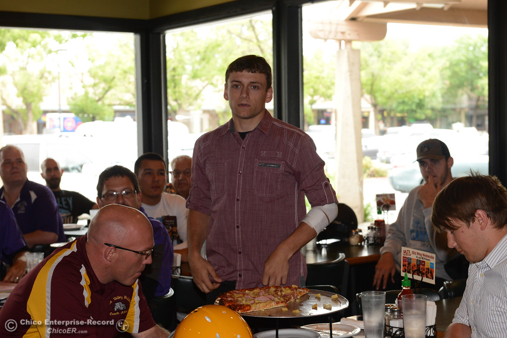 . Treyce Ashcraft, running back and linebacker for Dunsmuir, introduces himself as a player for the 8-man South team as players and coaches meet Thursday, June 8, 2017, for the Lions All-Star football game kickoff luncheon at Round Table Pizza on Pillsbury Road in Chico, California. (Dan Reidel -- Enterprise-Record)