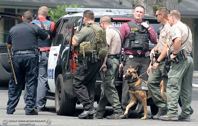 Chico Police and Butte County Sheriff's Deputies search for a gunman at the Safari Inn after reports of a shooting near Cohasset Road in Chico, Calif. Wed. June 7, 2017. (Bill Husa -- Enterprise-Record)