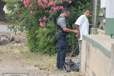 A man is detained by Police after reports of a shooting near Cohasset Road in Chico, Calif. Wed. June 7, 2017. (Bill Husa -- Enterprise-Record)