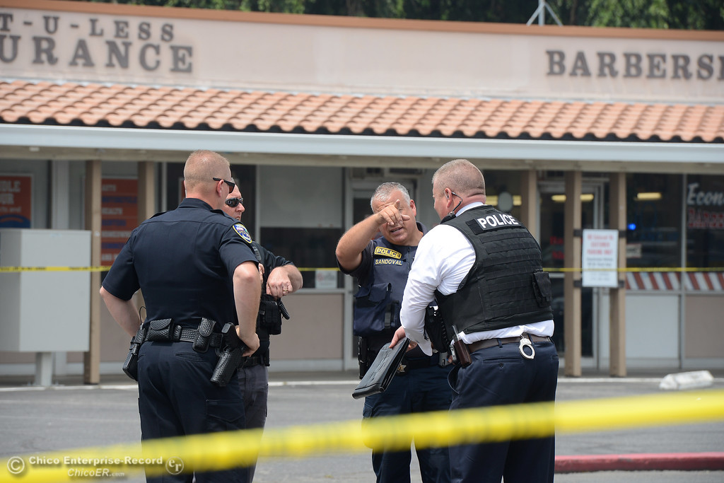 . Police investigate a shooting Wednesday, June 7, 2017, that began at Cohasset and the Esplanade and involved chases in several directions in Chico, California. (Dan Reidel -- Enterprise-Record)