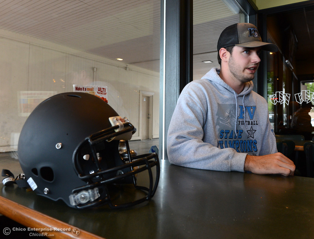 . Pleasant Valley and 11-man South quarterback Kyle Lindquist speaks to the media as players and coaches meet Thursday, June 8, 2017, for the Lions All-Star football game kickoff luncheon at Round Table Pizza on Pillsbury Road in Chico, California. (Dan Reidel -- Enterprise-Record)