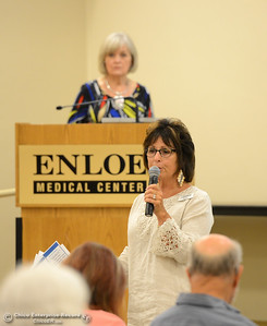"Nancy Khanchandani introduces licensed clinical social worker Connie Massie, rear, before Massie gives a presentation titled ""Coping with Emotional Transitions of Aging"" Thursday, June 9, 2016, at Enloe Conference Center in Chico, California. (Dan Reidel -- Enterprise-Record)"
