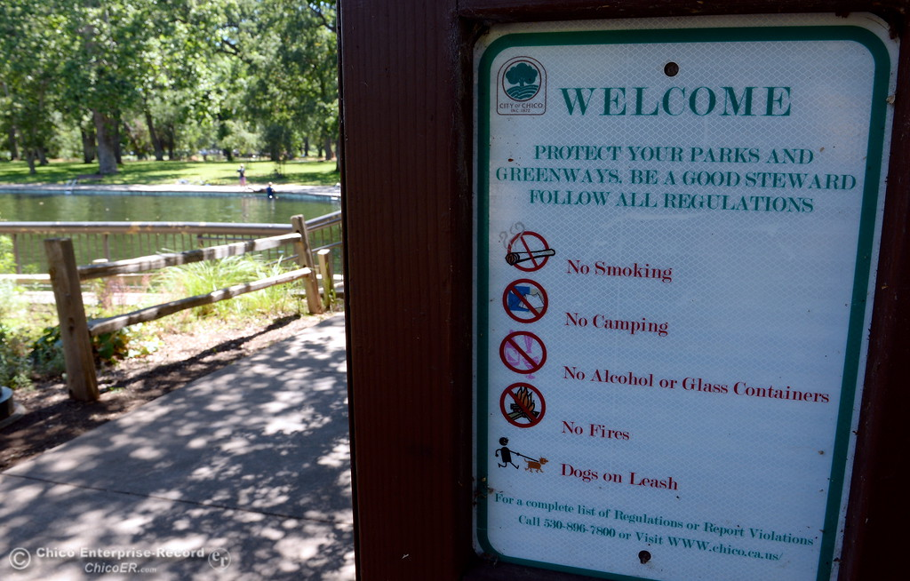 . A Welcome sign reminds park users of some basic rules near Sycamore Pool at the One Mile Recreation Area in Bidwell Park in Chico, Calif. Wed. June 14, 2017. (Bill Husa -- Enterprise-Record)