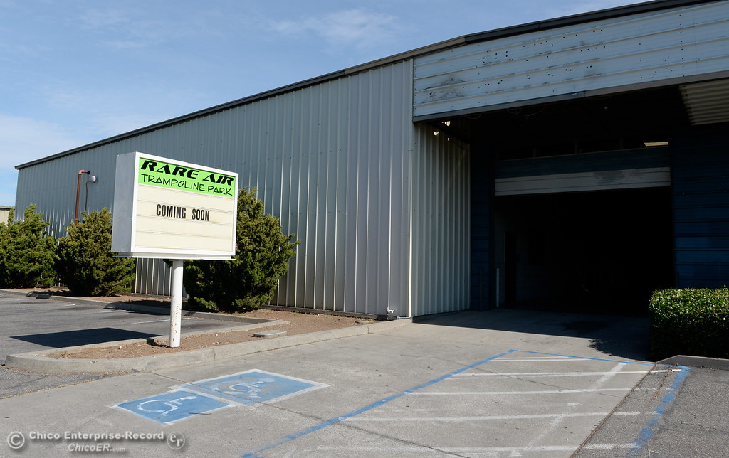 . A sign in front of the old Off the Wall Soccer building says Rare Air Trampoline Park coming soon Thurs. June 15, 2017. (Bill Husa -- Enterprise-Record)