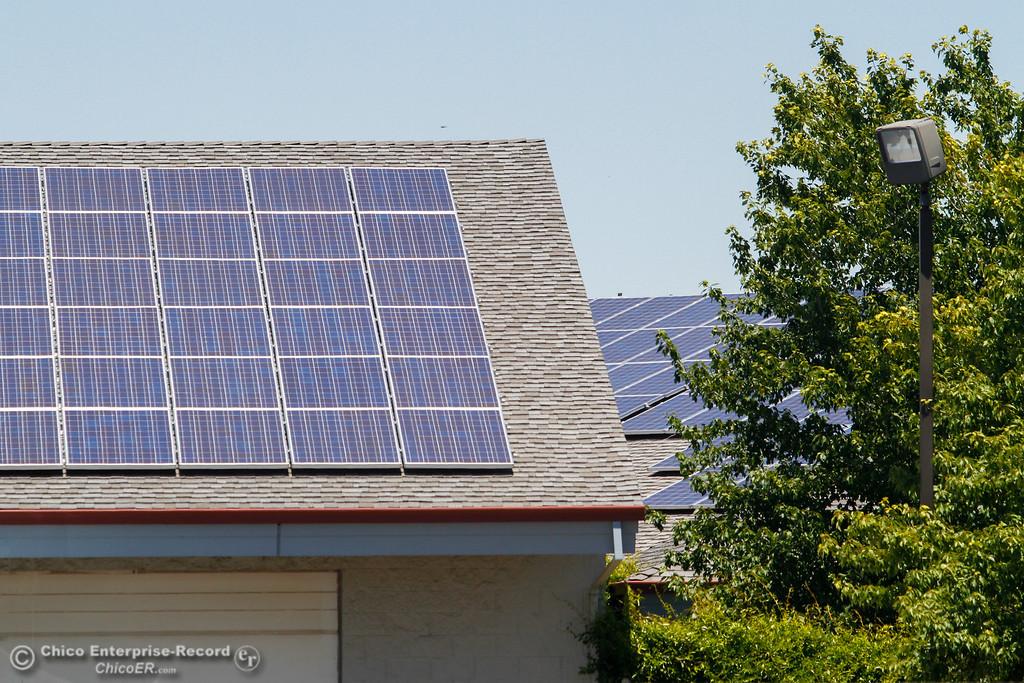. Solar panels atop  Tuesday June 13, 2017 at California Water Services Co. in Chico, California. (Emily Bertolino -- Enterprise-Record)