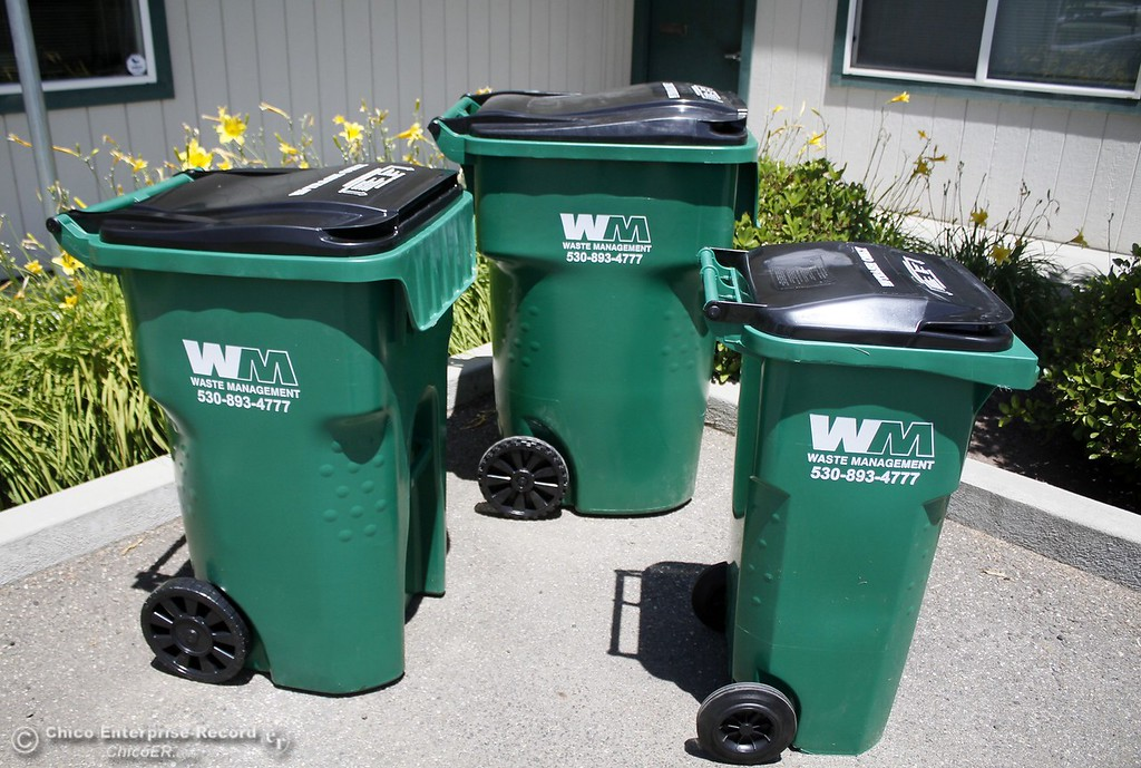 . Waste Management offers three sizes: a 32 gallon, 64 gallon and 94 gallon waste bin Monday June 12, 2017 at Waste Management in Chico, California. (Emily Bertolino -- Enterprise-Record)