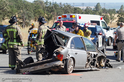 A three car collision along Highway 32 at Humboldt Road sent one to the hospital Thursday June 15, 2017 in Chico, California. (Emily Bertolino -- Enterprise-Record)