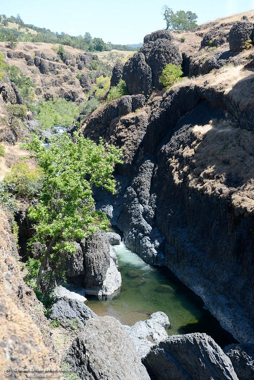. Big Chico Creek is seen along the Yahi Trail from the edge of the cliffs between the Diversion Dam and Salmon Hole in Upper Bidwell Park in Chico, Calif. Tues. June 13, 2017. The idea of a linked, non-motorized trail system in California has been discussed for years, but the idea gained momentum last month during a firety-ever conference held in Chico.(Bill Husa -- Enterprise-Record)