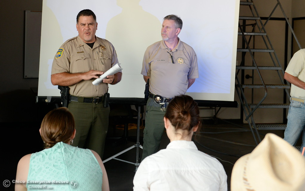. Representatives from CAL FIRE, PG&E, Butte County Sheriff\'s Dept. teach fire safety to a group of media representatives during a fire safetly training held at the Butte College Training facility Monday, June 19, 2017. (Bill Husa -- Enterprise-Record)