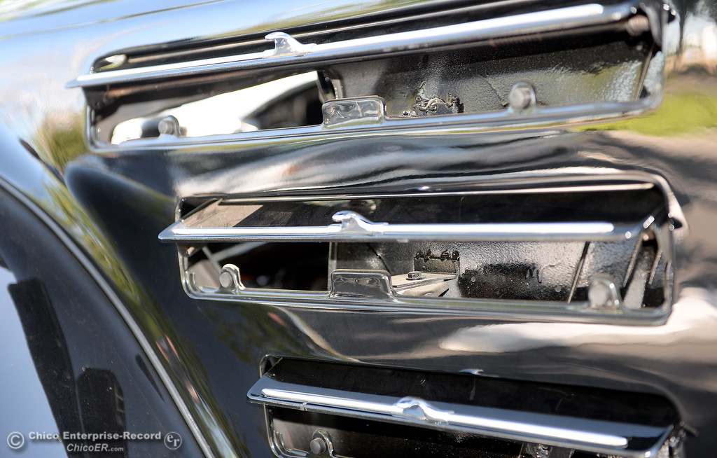 . Vents attached to the side of the engine compartment of a 1934 Chrysler Airflow Coupe owned by Phil Putnam of Orland is seen in Chico, Calif. Tues. May 29, 2018. The car, valued at roughly $100,000 will be on display along with about 30 other Airflow\'s during the Airflow National meeting held in downtown Chico, Calif. June 19th through the 23rd. Putnam said his Airflow is one of only 8-10 of these cars that remain in existence. (Bill Husa -- Enterprise-Record)
