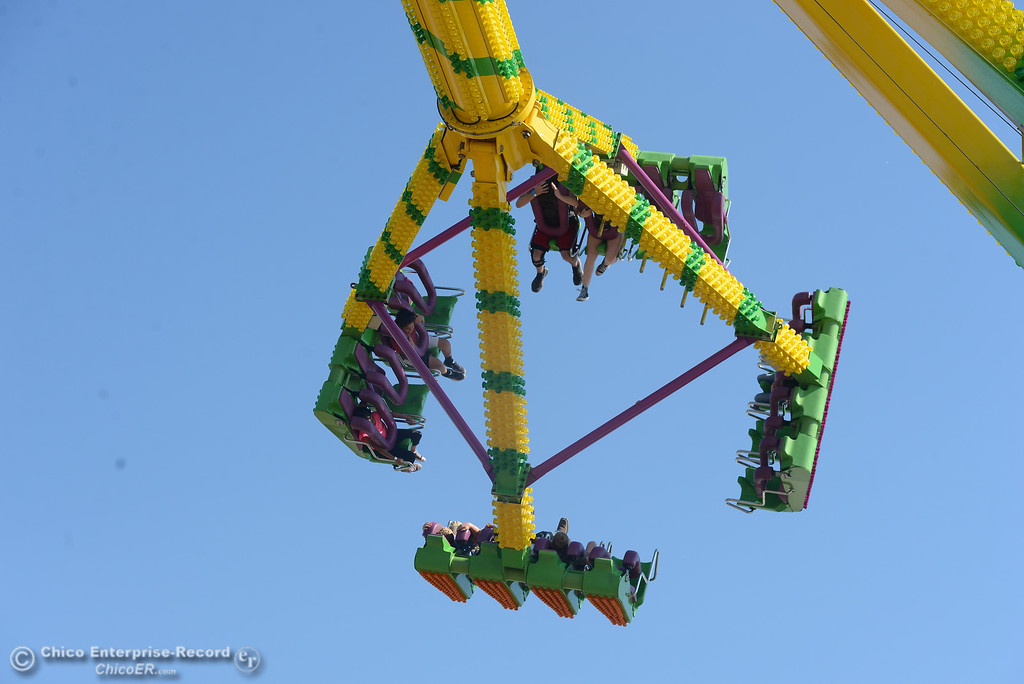 . A ride spins passengers around at the Glenn County Fair, May 17, 2018,  in Orland, California. (Carin Dorghalli -- Enterprise-Record)