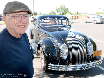 Phil Putnam of Orland smiles beside his 1934 Chrysler Airflow Coupe in Chico, Calif. Tues. May 29, 2018. The car, valued at roughly $100,000 will be on display along with about 30 other Airflow's during the Airflow National meeting held in downtown Chico, Calif. June 19th through the 23rd. Putnam said his Airflow is one of only 8-10 of these cars that remain in existence. (Bill Husa -- Enterprise-Record)
