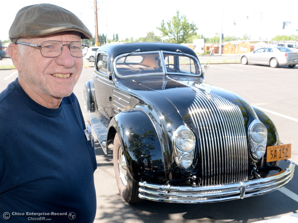 . Phil Putnam of Orland smiles beside his 1934 Chrysler Airflow Coupe in Chico, Calif. Tues. May 29, 2018. The car, valued at roughly $100,000 will be on display along with about 30 other Airflow\'s during the Airflow National meeting held in downtown Chico, Calif. June 19th through the 23rd. Putnam said his Airflow is one of only 8-10 of these cars that remain in existence. (Bill Husa -- Enterprise-Record)