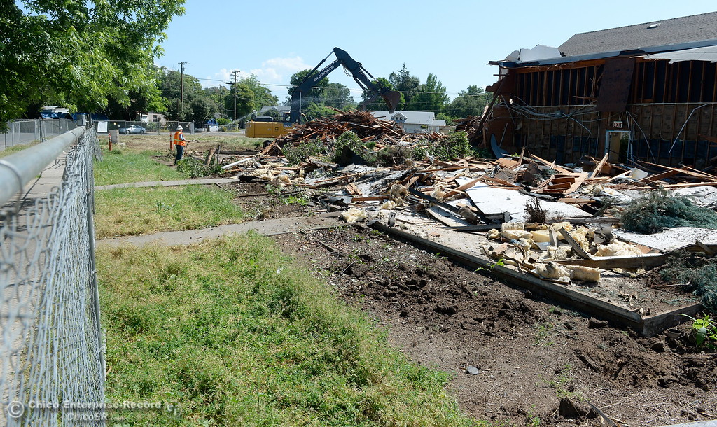 . Demolition is underway of the old Salvation Army building and church located on the corner of East 16th Street and Laurel St. in Chico, Calif. Mon. May 14, 2018.  (Bill Husa -- Enterprise-Record)