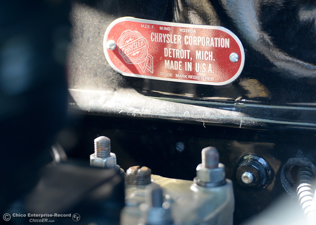 . A Chrysler Corporation Detroit Michigan tag is seen inside of the engine compartment of a 1934 Chrysler Airflow Coupe owned by Phil Putnam of Orland is seen in Chico, Calif. Tues. May 29, 2018. The car, valued at roughly $100,000 will be on display along with about 30 other Airflow\'s during the Airflow National meeting held in downtown Chico, Calif. June 19th through the 23rd. Putnam said his Airflow is one of only 8-10 of these cars that remain in existence. (Bill Husa -- Enterprise-Record)