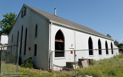The last moments of the old church standing is seen as demolition is underway of the old Salvation Army building and church located on the corner of East 16th Street and Laurel St. in Chico, Calif. Mon. May 14, 2018.  (Bill Husa -- Enterprise-Record)