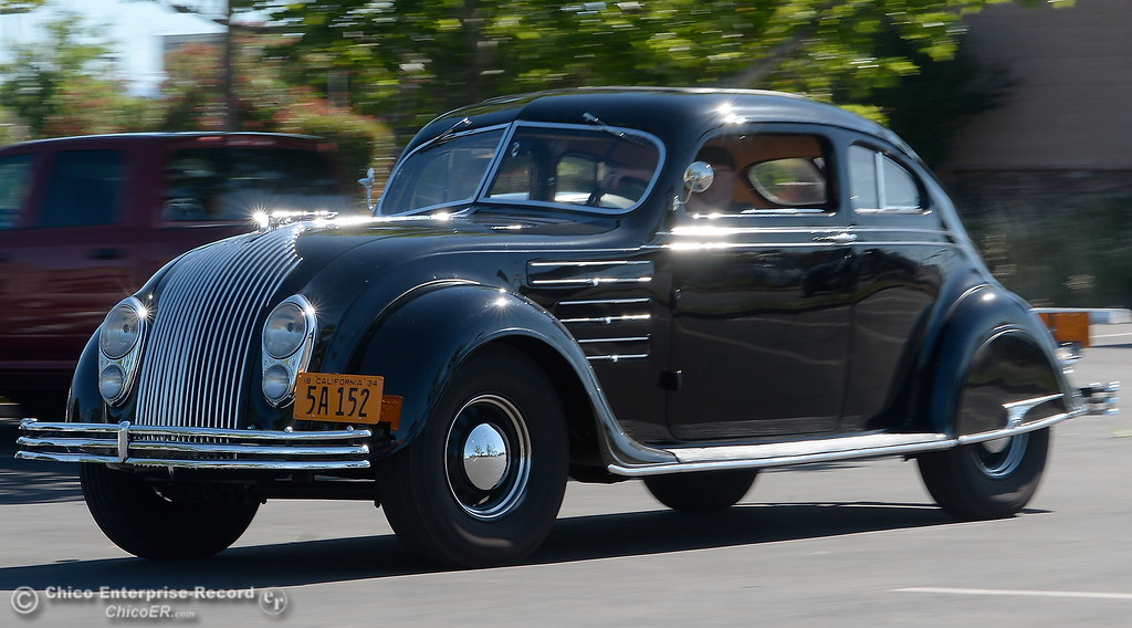 . Phil Putnam of Orland cruises through the parking lot at the Chico Enterprise - Record in his 1934 Chrysler Airflow Coupe in Chico, Calif. Tues. May 29, 2018. The car, valued at roughly $100,000 will be on display along with about 30 other Airflow\'s during the Airflow National meeting held in downtown Chico, Calif. June 19th through the 23rd. Putnam said his Airflow is one of only 8-10 of these cars that remain in existence. (Bill Husa -- Enterprise-Record)