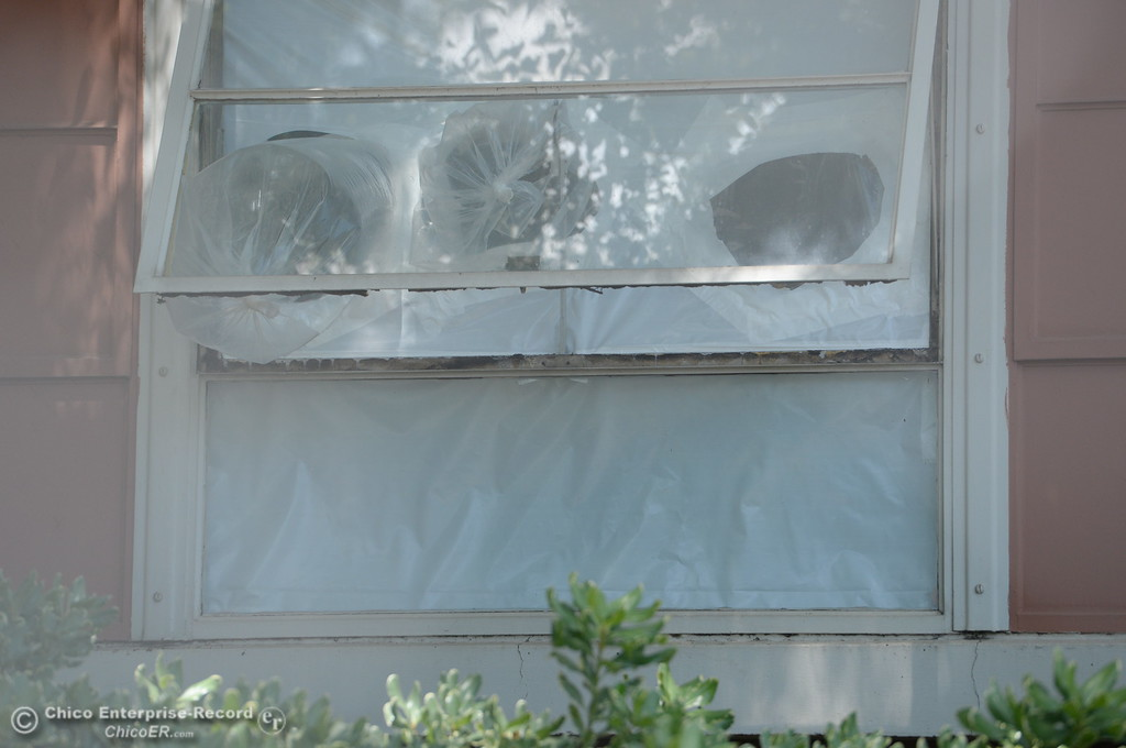 . Plastic sheeting can be seen around doors and windows while Siskiyou Hall is fenced off as demolition is underway at Chico State Universitiy in Chico, Calif. Wednesday May 30, 2018. (Bill Husa -- Enterprise-Record)