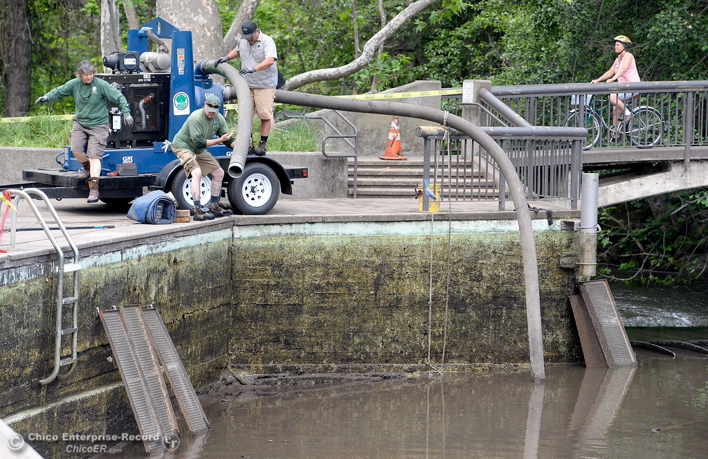 . City of Chico Maintenance Workers Peggy Henry, Mark Kellogg and Alex Triantafyllou left to right set up equipment as they work to clean out Sycamore Pool at One Mile Recreation Area in Bidwell Park Wed. May 16, 2018.  (Bill Husa -- Enterprise-Record)