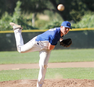 Chico Nuts's Braden Del Carlo pitches against the Humboldt Eagles in a doubleheader Saturday July 8, 2017 at Hooker Oak Park in Chico, California.  (Emily Bertolino -- Enterprise-Record)