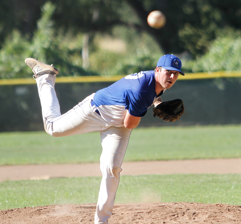 . Chico Nuts\'s Braden Del Carlo pitches against the Humboldt Eagles in a doubleheader Saturday July 8, 2017 at Hooker Oak Park in Chico, California.  (Emily Bertolino -- Enterprise-Record)