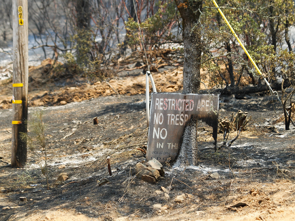 . At the base of Chinese Wall Road along Swedes Flat Road where the Wall Fire originated Saturday July 8, 2017 in Oroville, California.  (Emily Bertolino -- Enterprise-Record)