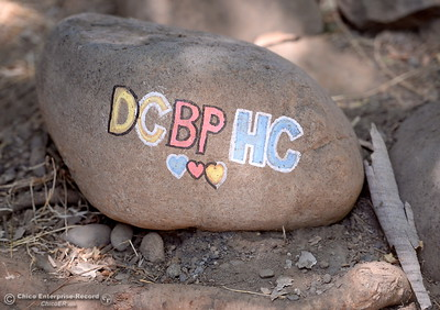 A decorated rock that of which only the creator know the true meaning of is seen along Big Chico Creek near the Manzanita Ave. footbridge Monday, July 9, 2018. (Bill Husa -- Enterprise-Record)