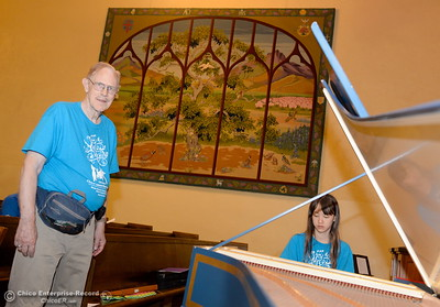 Robert Bowman listens as Erika Matson of Chico plays the harpsichord while musicians from across the north state take part in the Chico Summer Music Academy directed by Robert Bowman at the Bidwell Presbyterian Church in Chico, Calif. Friday July 13, 2018.  (Bill Husa -- Enterprise-Record)