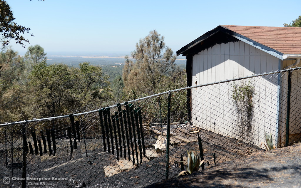 . A building sustained a bit of fire damage near Peak View Drive during the Wall Fire near Oroville, Calif. Mon. July 10, 2017. (Bill Husa -- Enterprise-Record)