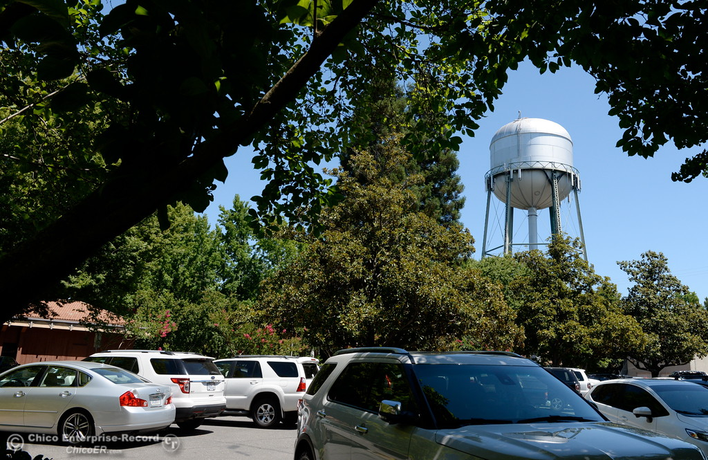 . A water tower is seen from the Enloe Conference Center parking lot in Chico, Calif. Thurs. July 13, 2017.  (Bill Husa -- Enterprise-Record)
