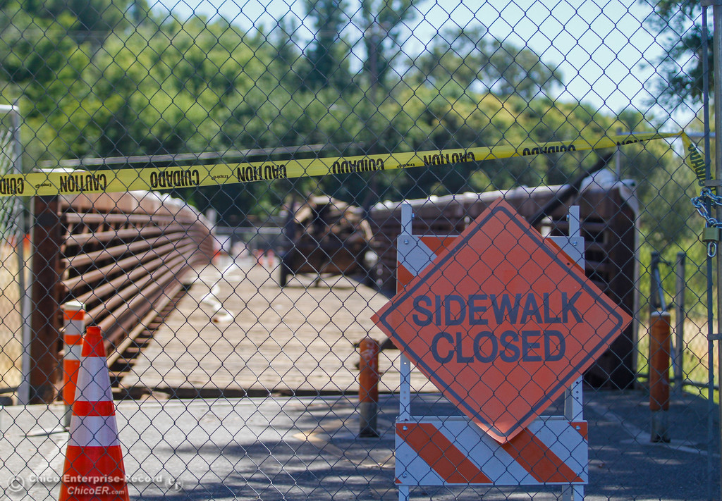 . The wooden Ceres Avenue bike bridge over Lindo Channel is being resurfaced with concrete Tuesday July 11, 2017 in Chico , California.  (Emily Bertolino -- Enterprise-Record)