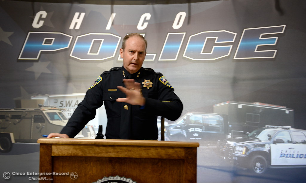 . Chico Police Chief Michael O\'Brien explains some of the details about a suspicious death at the Safari Inn in Chico, Calif. during a press conference held for media representatives at the Chico Police Station Thurs. July 13, 2017. (Bill Husa -- Enterprise-Record)