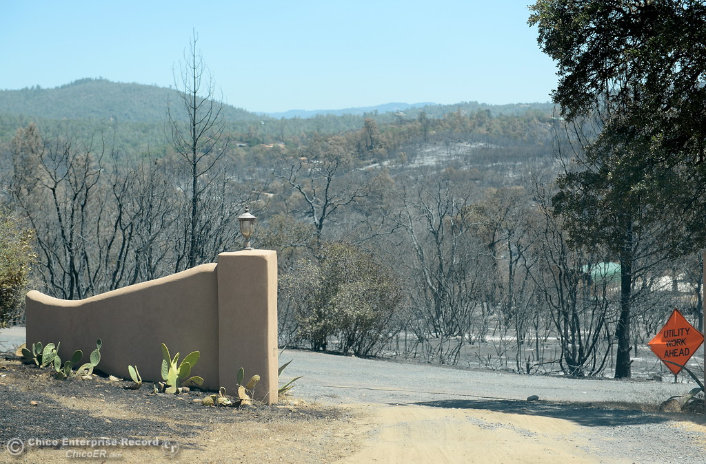 . A view from the driveway of the Prestella Family home off of Viewcrest Drive is a reminder of how lucky they are to still have their home following the Wall Fire near Oroville, Calif. Mon. July 10, 2017. (Bill Husa -- Enterprise-Record)