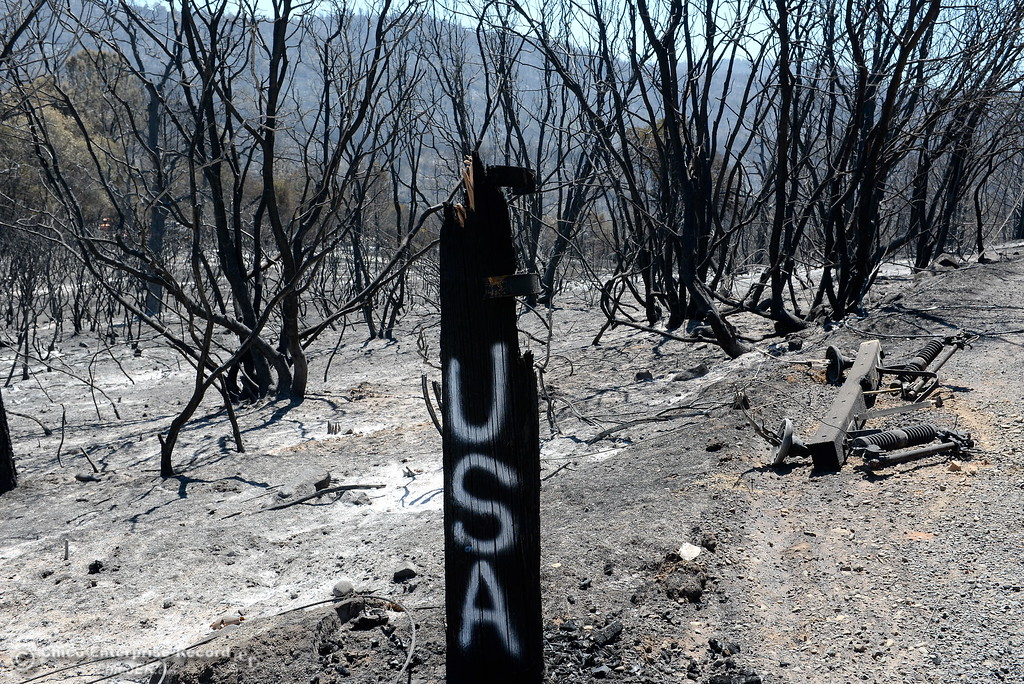 . The remnants of a charred power pole are seen among the 5,600 acres of charred brush and trees following the Wall Fire near Oroville, Calif. Mon. July 10, 2017. (Bill Husa -- Enterprise-Record)