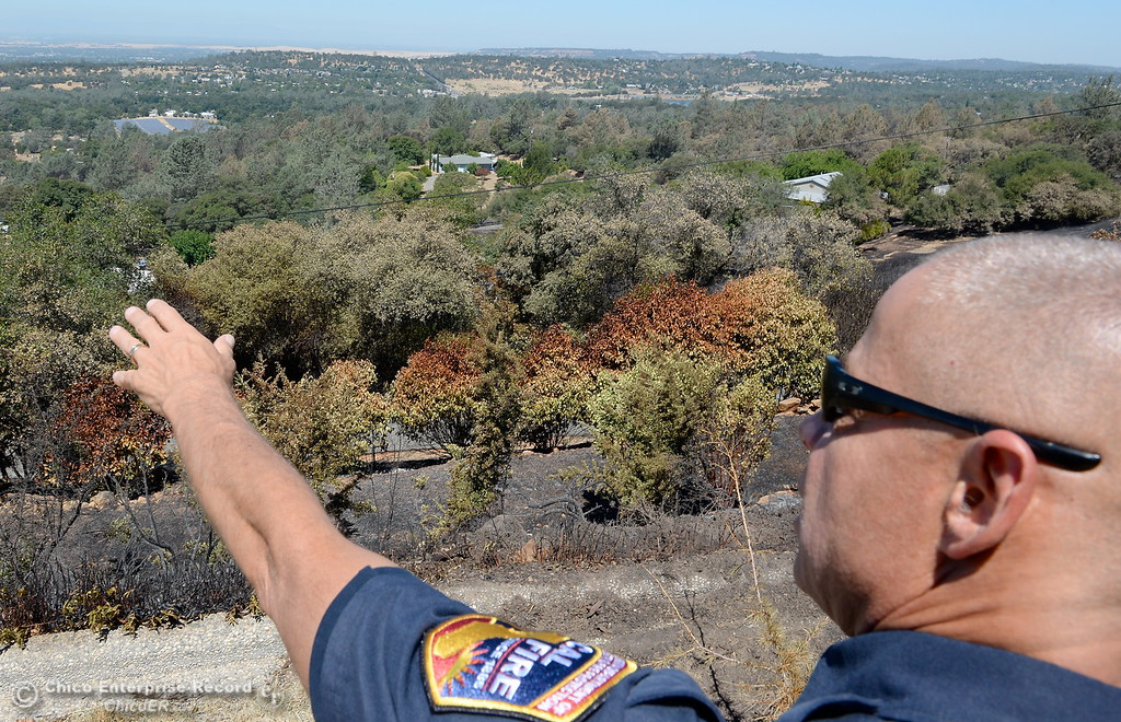 ". CAL FIRE / Butte County Fire Battalion Chief Russ Fowler talks about the fire behavior in the ""danger zone\"" around  the Wall Fire near Oroville, Calif. Mon. July 10, 2017. (Bill Husa -- Enterprise-Record)"