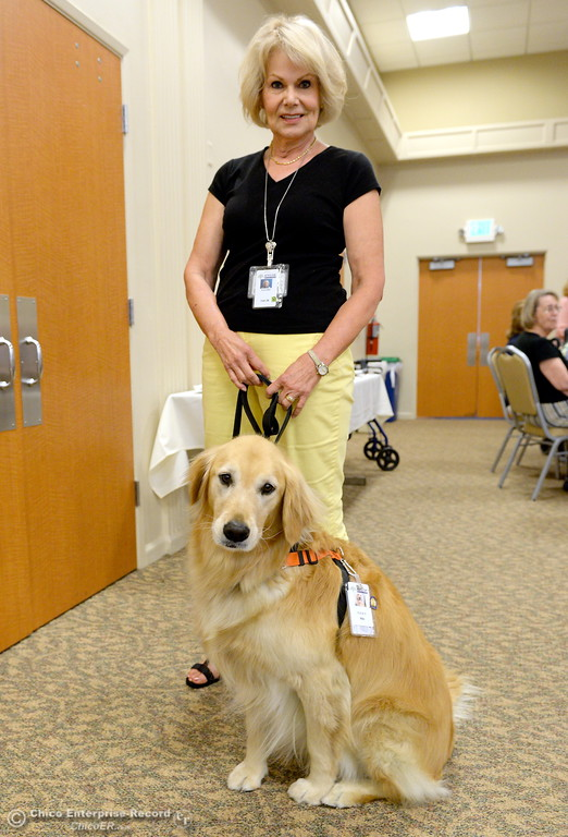 . Niki, a service dog owned by Irish McNeil is honored for 5-years of service during a meeting at the Enloe Conference Center in Chico, Calif. Thurs. July 13, 2017. (Bill Husa -- Enterprise-Record)