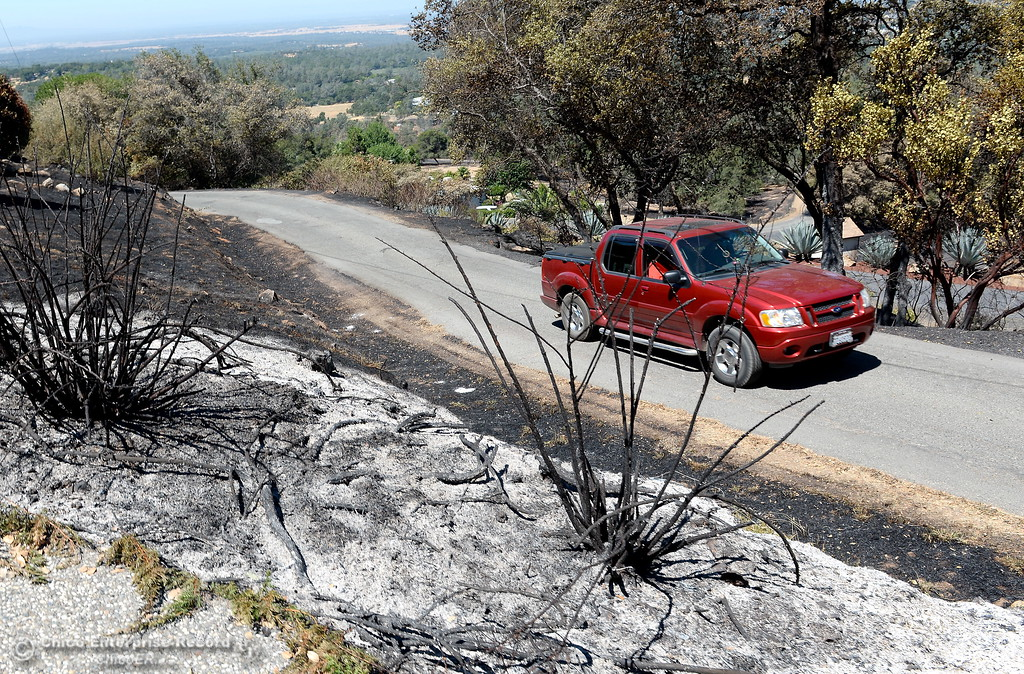 . A vehicle makes it\'s way past charred brush after the Wall Fire near Oroville, Calif. Mon. July 10, 2017. (Bill Husa -- Enterprise-Record)