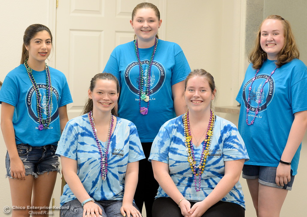 . Members of the Belca Bet Canto Choir Giana Lang, Gina Mitchell, Annika Wolfe, Emma Snyder and Bailey James left to right smile in Chico Calif. Wed. July 12, 2017. The choir recently visited New Orleans.  (Bill Husa -- Enterprise-Record)