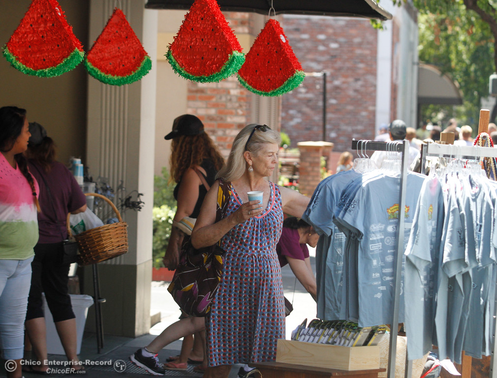 . People browse merchandise in front of Made in Chico during the annual Slice of Chico Saturday July 15, 2017 in Chico, California.  (Emily Bertolino -- Enterprise-Record)