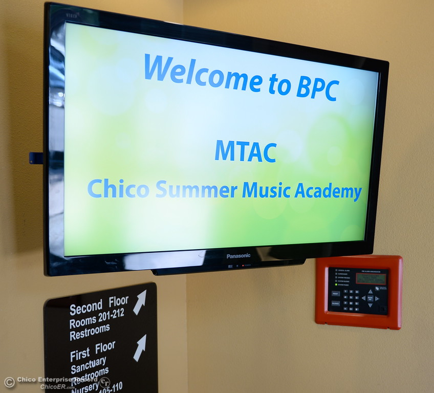 . A sign welcoming musicians to the Summer Music Academy is seen at the Bidwell Presbyterian Church in Chico, Calif. Thurs. July 20, 2017. (Bill Husa -- Enterprise-Record)
