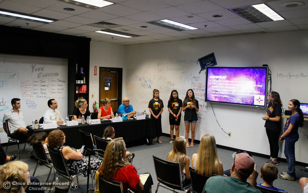 . Teen girls will be faced a Sharks-like panel to promote their video games after a week of computer coding camp Friday July 21, 2017 at the Build.com office in Chico, California.   (Emily Bertolino -- Enterprise-Record)