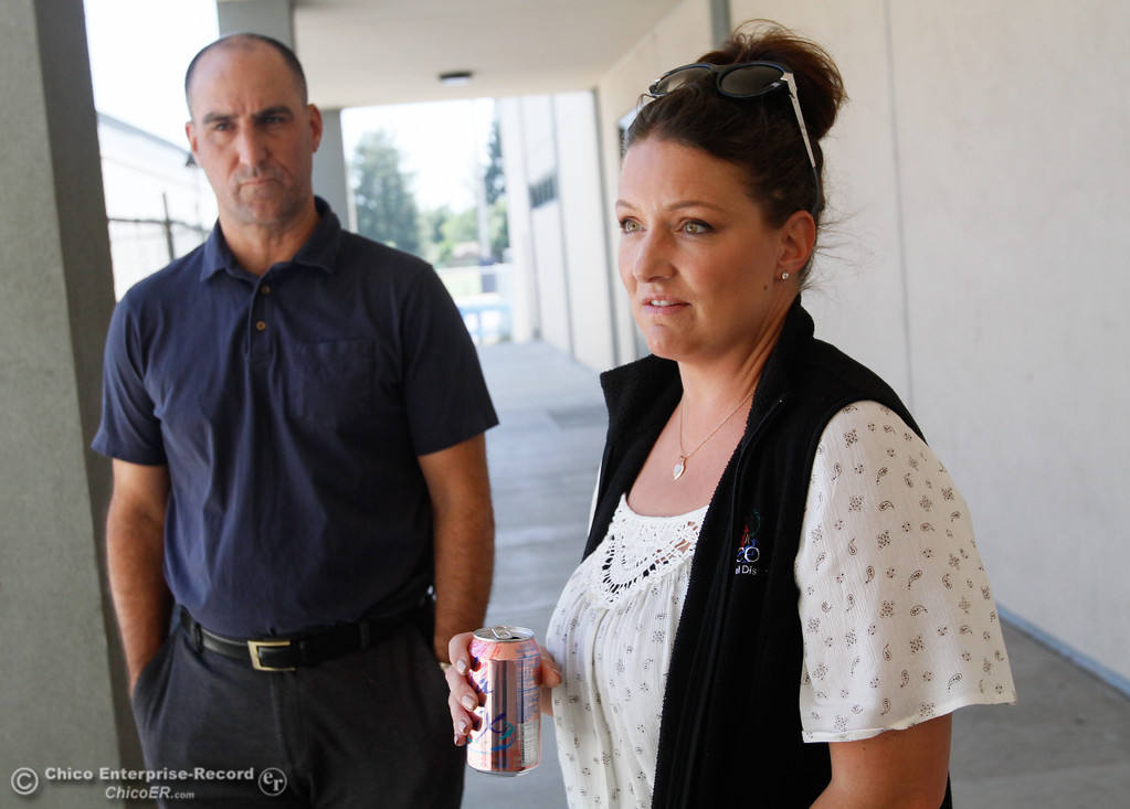 . Chico Unified School District\'s construction manager Lalanya Rothenberger and assistant superintendent for business services Kevin Bultema talk about the delay on the Pleasant Valley High gym project Tuesday July 18, 2017 at Pleasant Valley High School in Chico, California.  (Emily Bertolino -- Enterprise-Record)