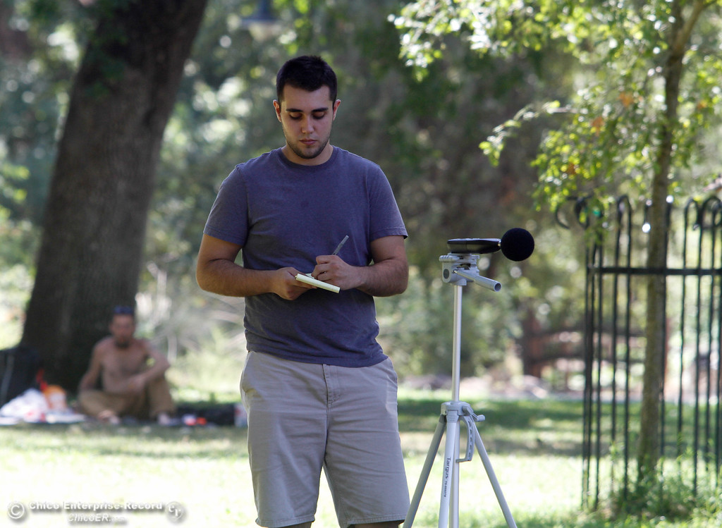. Brian Stabenfeldt conducts a noise reading to determine the baseline decibel reading of Sycamore Pool Wednesday July 19, 2017 in Chico, California. Stabenfeldt an intern with ECORP Consulting, an environmental consulting firm was sent out to record sounds from around the community including a residential area, busy road, gas station, sporting event and school.   (Emily Bertolino -- Enterprise-Record)