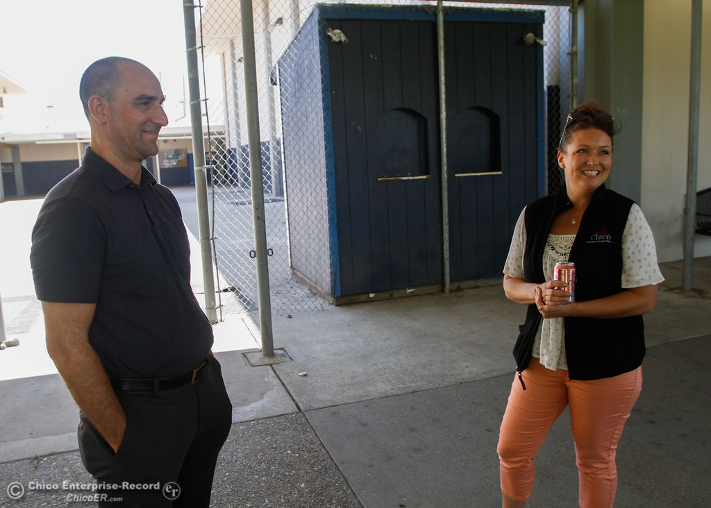. Chico Unified School District\'s assistant superintendent for business services Kevin Bultema and construction manager Lalanya Rothenberger talk about the delay on the Pleasant Valley High gym project Tuesday July 18, 2017 at Pleasant Valley High School in Chico, California.  (Emily Bertolino -- Enterprise-Record)