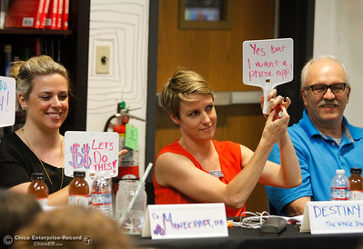Judges Rachel Gumpy of Build.com,  Noelle Sadler of Lulus.com and Gary Loustale of Chico Unified School District board cast their vote to help fund a team's video game idea Friday July 21, 2017 in Chico, California.   (Emily Bertolino -- Enterprise-Record)