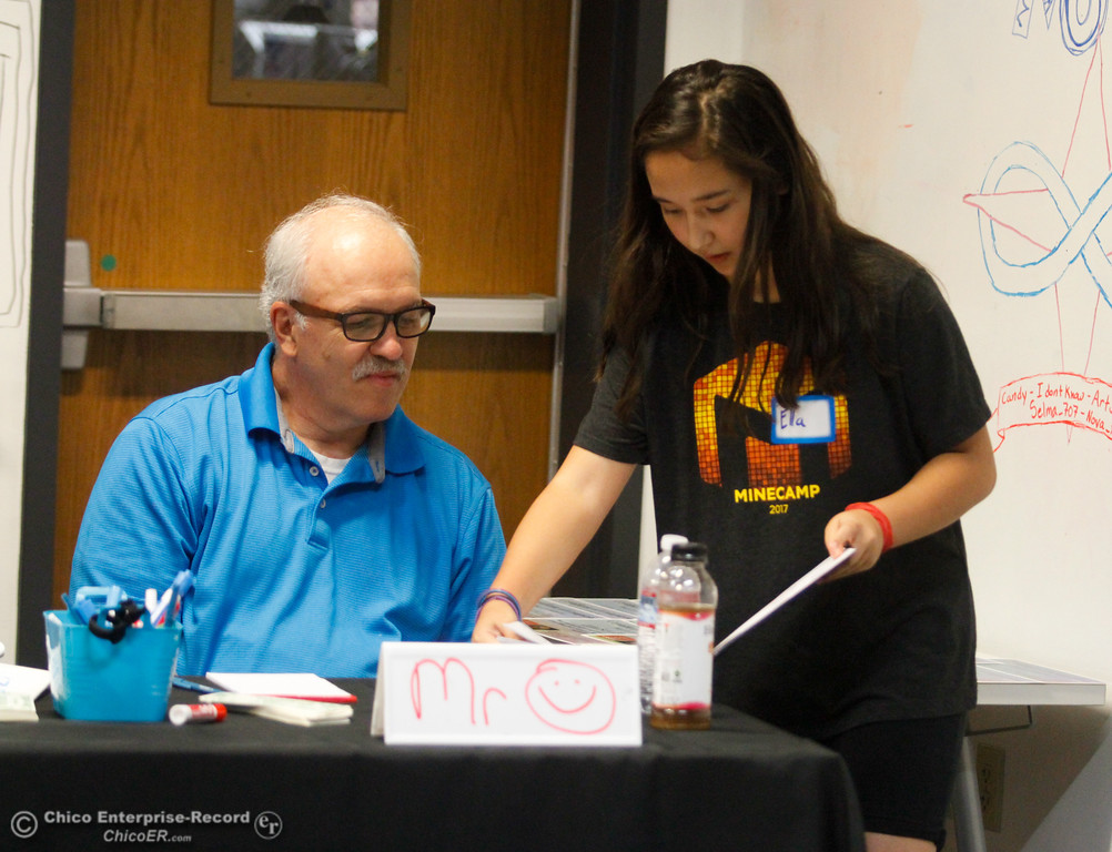 . Video game artist Ella shows her sketches to judge Gary Loustale of Chico Unified School District board as her team pitches their video game idea after a week of computer coding camp Friday July 21, 2017 in Chico, California.   (Emily Bertolino -- Enterprise-Record)